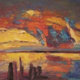 'Feuer u. Wasser 2' 2007 - Tempera - B|H: 58|42 cm