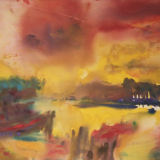 'Feuer u. Wasser 6' 2007 - Aquarell, Tempera - B|H: 61,5|48 cm