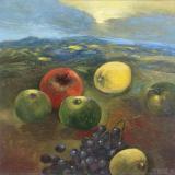 'Früchte in dunkler Landschaft' 2014 - Öl auf Leinewand - B|H: 50|50 cm