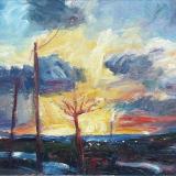 'Letztes Licht des Tages' 1999 - Öl auf Pappe - B|H: 59,5|42 cm