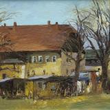 'Gehöft in Falkenau' 1995 - Öl auf Hartfaser - B|H: 46|33 cm