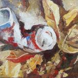 'Müll im Herbstlaub' 2009 - Öl auf Leinewand - B|H: 40|30 cm