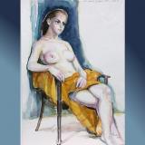 'Sitzende III' 2004 - Auqarell - B H: 30 40 cm