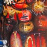 'Kunsthandwerkermarkt - Masken' 2013 - Acryl/Gesso - B|H: 70x100cm