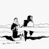 'Zwei Titanen vor Berlin' 2009 - Tuschezeichnung - B|H: 24|32 cm