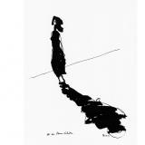 'Er in Ihrem Schatten' 2009 - Tuschezeichnung - B|H: 24|32 cm