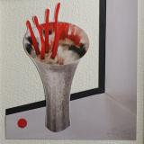 'Vase mit exotischer Blume' 2020 - Collage - B|H: 8,5 x 8,5 cm