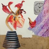 'Stillleben mit Uhr' 2020 - Collage - B|H: 8,5|8,5 cm