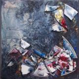 'Scherbenlabyrinth blau' 2012 - Assemblage - B H: 20 20 cm