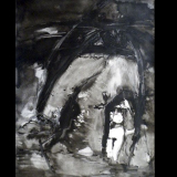 'Schutz suchend'  1988  - Tusche - B|H: 50|70 cm
